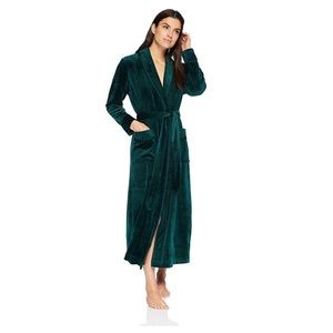 Velour velvet long wrap robe